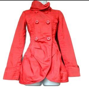 Vero moda orange/red ruched pea coat